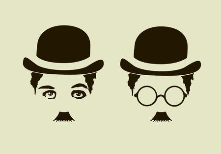 Retro hat, mustaches, glasses