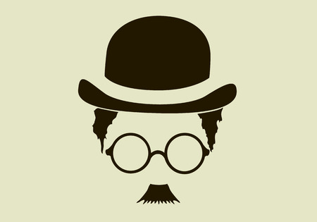 mustaches: Retro hat, mustaches, glasses