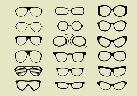 glasses vector set isolated white background  イラスト・ベクター素材