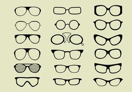 glasses vector set isolated white background Vettoriali