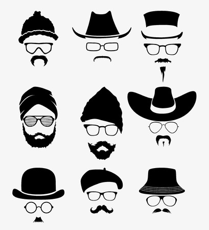 vector set of glasses and hats mustache