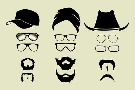 chapeau de paille: ensemble de vecteur de lunettes et chapeaux moustache