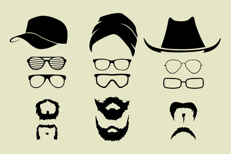 straw hat: vector set of glasses and hats mustache