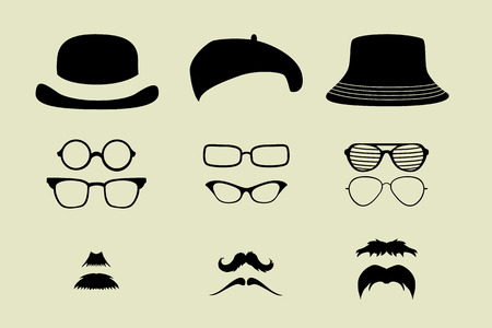 fedora hat: vector set of glasses and hats mustache