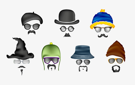 fedora hat: Set of glasses and hats mustache Illustration