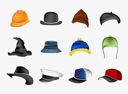 bowler hats: Set of hats Illustration