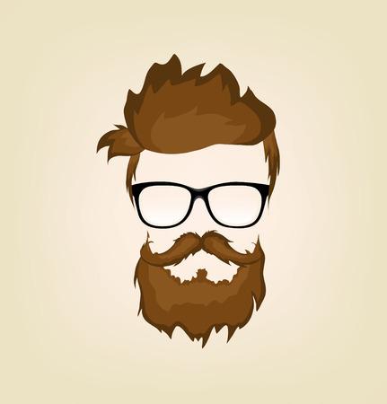 Moustache, la barbe et la coiffure hippie dans les verres Banque d'images - 27346442