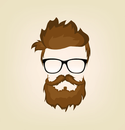 handsome man face: mustache, beard and hairstyle hipster in glasses