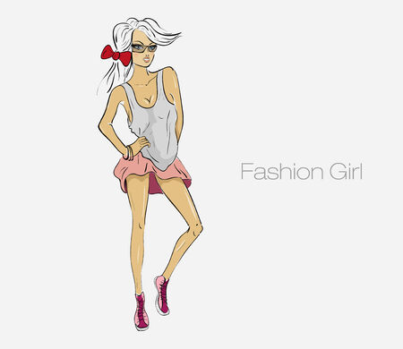 fashionable girl on a white background Vector