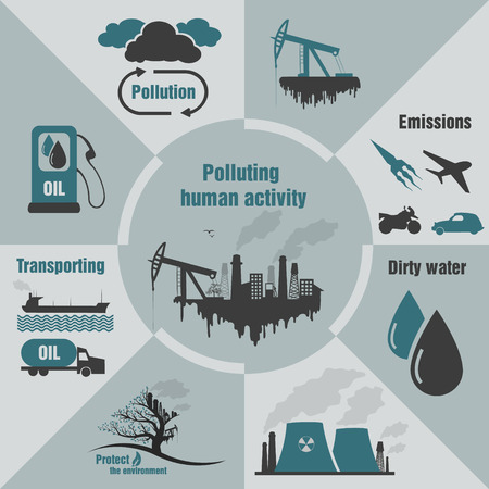 infographics pollution human activity Stock Vector - 28516787
