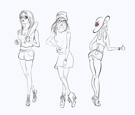 pencil skirt: sketch drawing girl in a short dress on white background