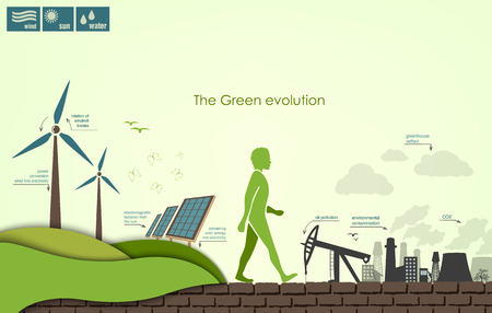 evolution of the concept of greening of the world infographics Illustration