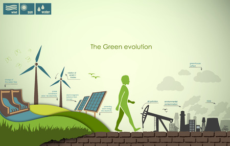 hydro electric: evolution of the concept of greening of the world infographics Illustration