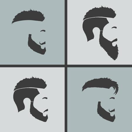elegante: ícones penteados perfil barba e bigode do hipster