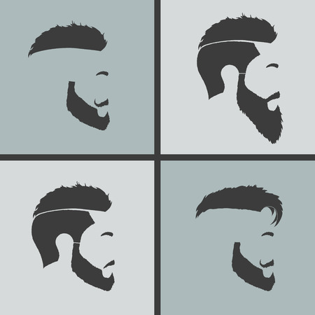 men silhouette: icons hairstyles beard and mustache hipster profile Illustration