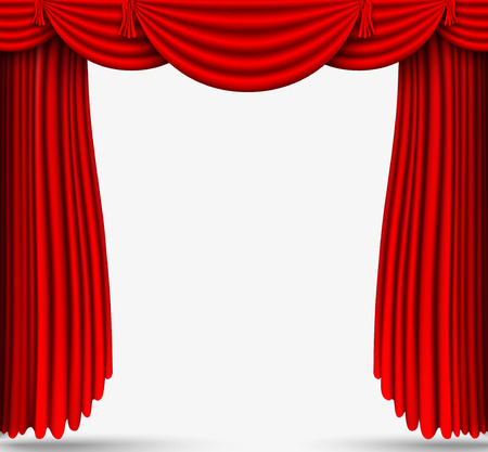 theater auditorium: red silk curtains stage Illustration