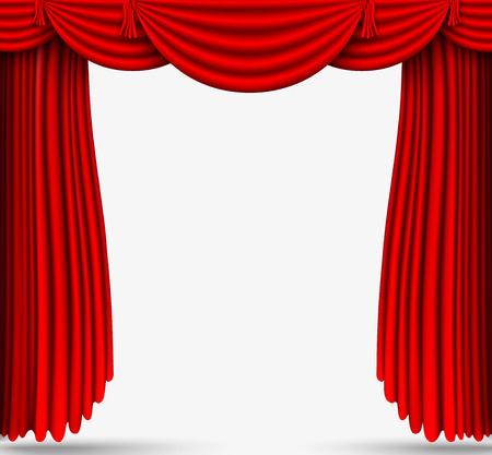 Rouge stade de rideaux de soie Banque d'images - 30110971