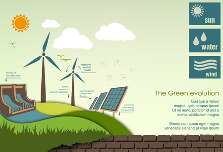 hydroelectric: evolution of the concept of greening of the world infographics Illustration