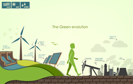 global warming: evolution of the concept of greening of the world infographics Illustration