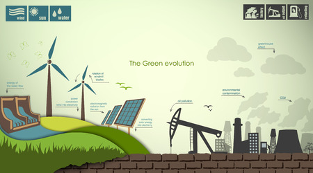hydro power: evolution of the concept of greening of the world infographics Illustration