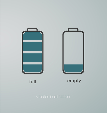 charged: icons at the charged and uncharged battery Illustration