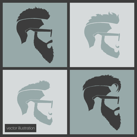 burning man: icons hairstyles beard and mustache hipster profile Illustration