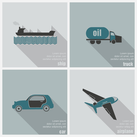 train table: icons land, air and water transport Illustration