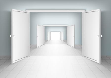 open doorway: open doors in rooms