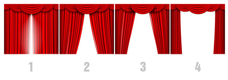 red velvet: process of opening red curtain Illustration