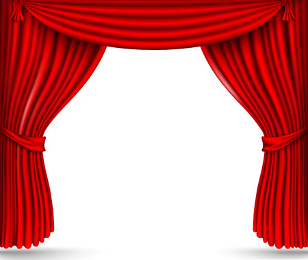 red silk curtains stage Vectores