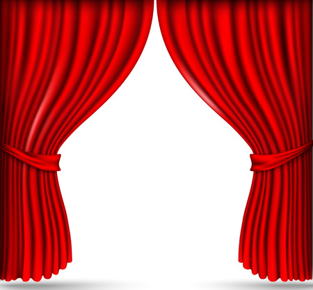 red silk curtains stage 向量圖像