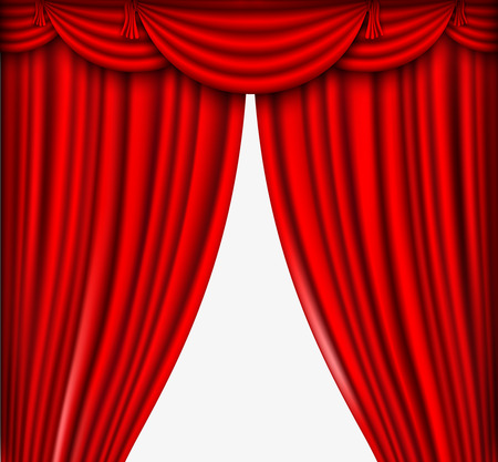 red silk curtains stage Vector