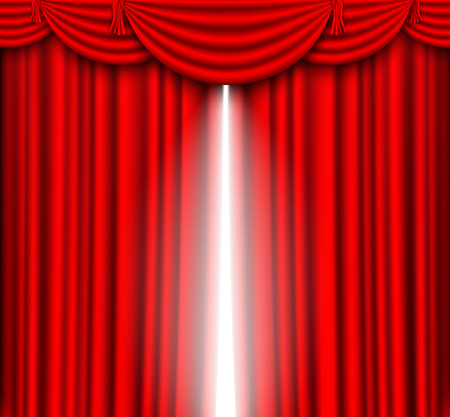 stage performance: Red curtain with a bright light