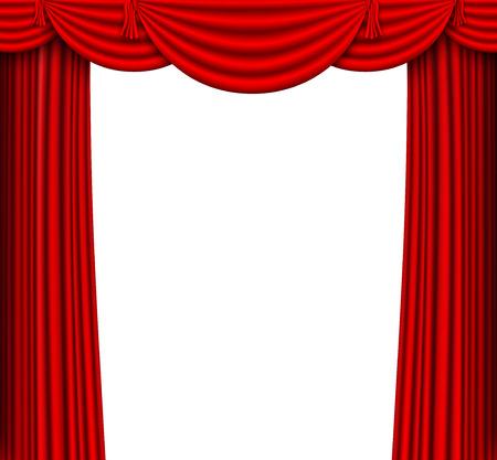 赤い絹のカーテン ステージ  イラスト・ベクター素材