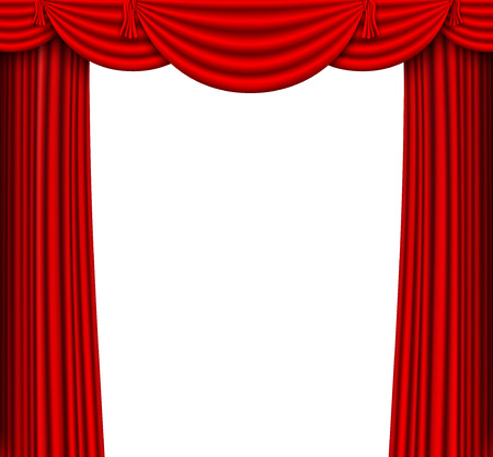 red silk curtains stage Illustration