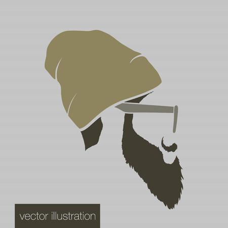 mystery man: Icon man in a headdress hat, mustache, vector