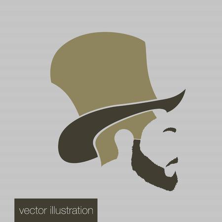 Icon man in a headdress hat, mustache, vector Vector