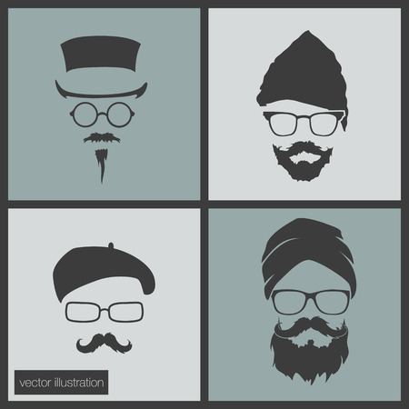 icons hairstyles beard and mustache hipster hat Vector