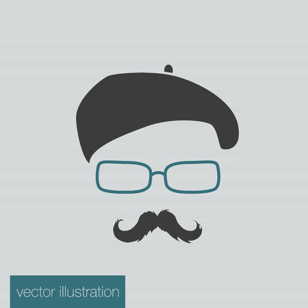 disguise: Icon man in a headdress hat, mustache, vector