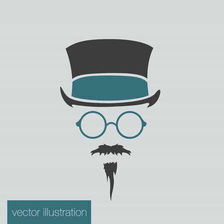 bowler hats: Icon man in a headdress hat, mustache, vector