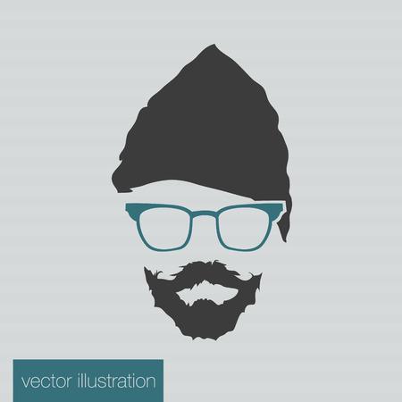 Icon man in a headdress hat, mustache, vector Stock Vector - 30688421