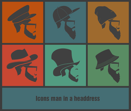 colorful Icons man in a headdress hat Vector