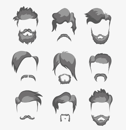 mustache, beard and hairstyle hipster vector, hair Vector