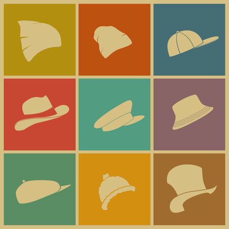 stovepipe hat: vector set of colored hats icons top Illustration