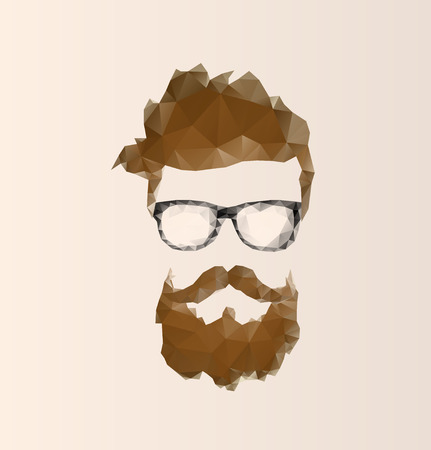 glass modern: triangular icon hipster with a beard wearing glasses Illustration