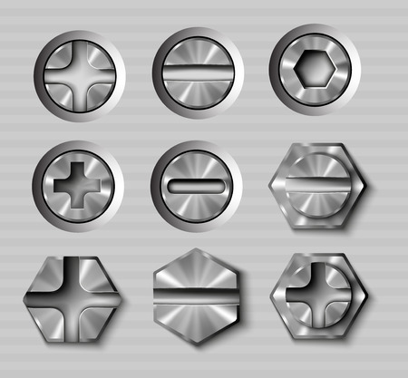 vector set of metal bolts and screws Illustration