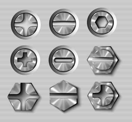 gimlet: vector set of metal bolts and screws Illustration