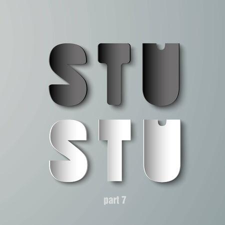 stu: Vector Paper Graphic Alphabet white and black STU