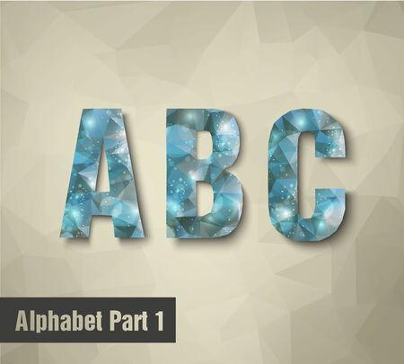 icy: triangular blue alphabet A B C