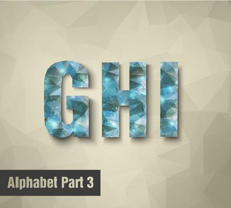 icy: triangular blue alphabet G H I   Illustration